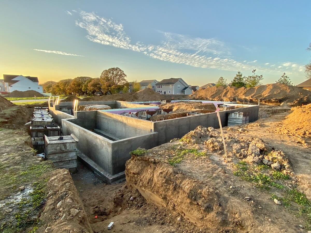 Foundation of new home in Woodbury MN